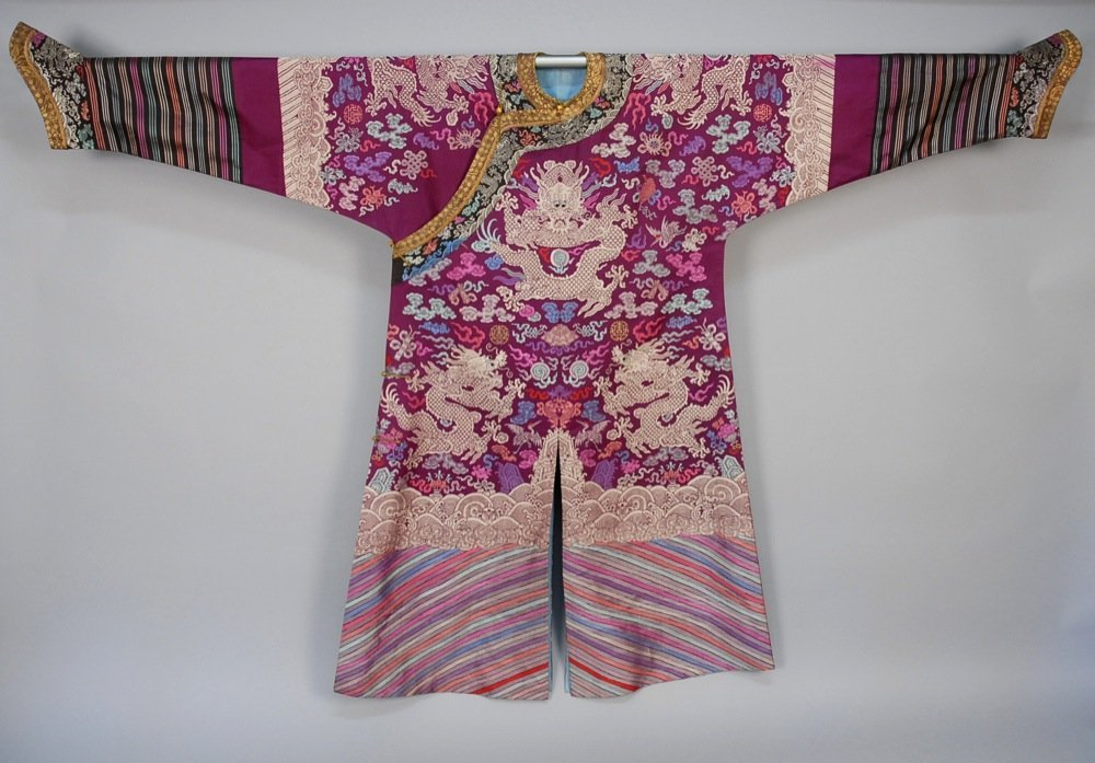 CHINESE SILK BROCADE ROBE, 20th C. Purple silk