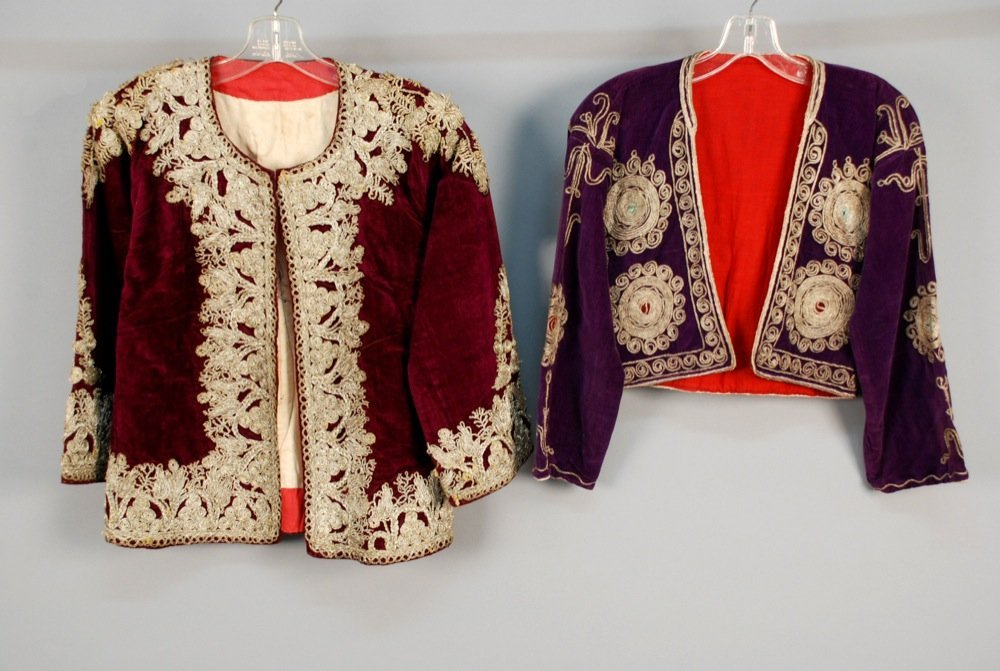 TWO ETHNIC METALLIC EMBROIDERED VELVET JACKETS, EARLY
