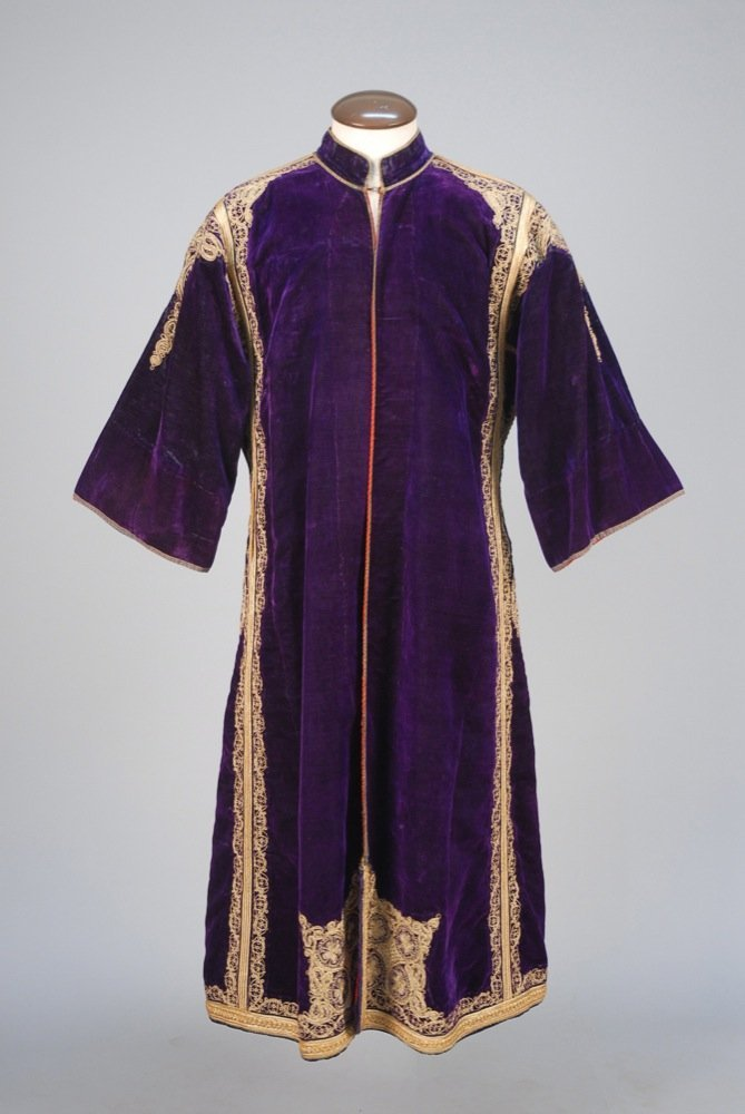 ETHNIC METALLIC EMBROIDERED ROBE, EARLY 20th C. Royal