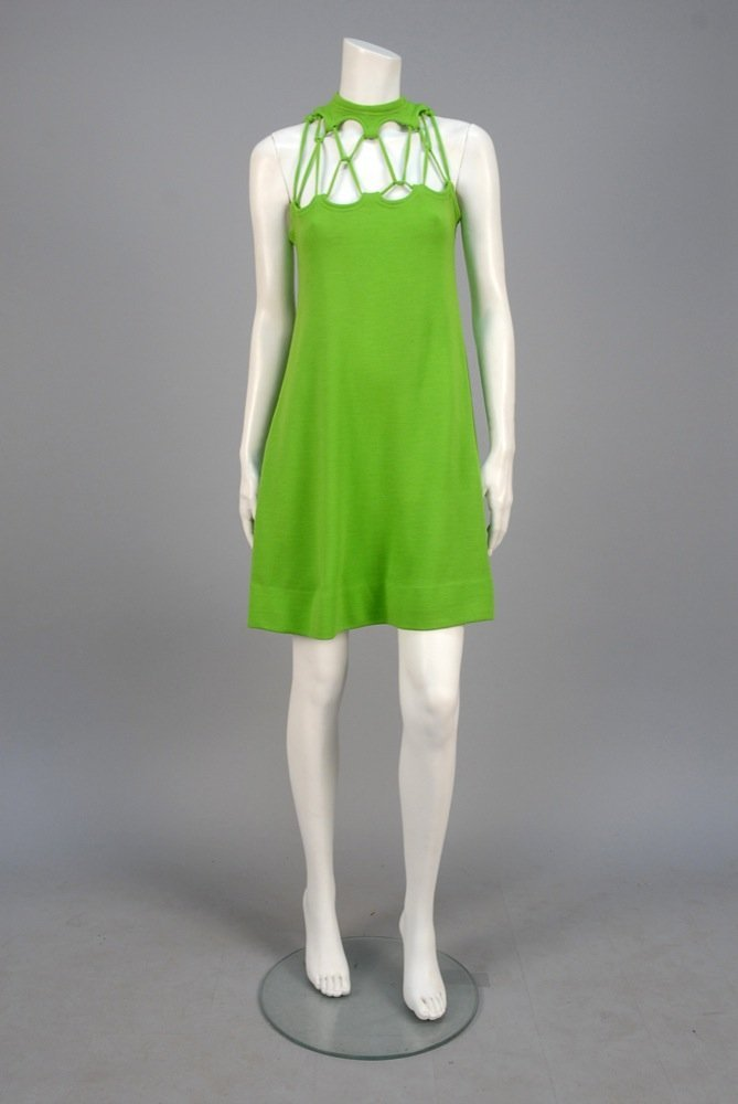 RUDI GERNREICH  WOOL DRESS with NETTED BODICE, 1960s.