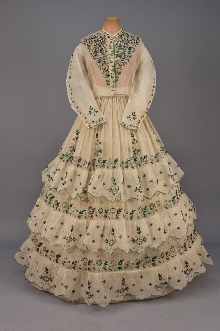 BEETLE WING and METALLIC EMBROIDERED DRESS, 1860s.
