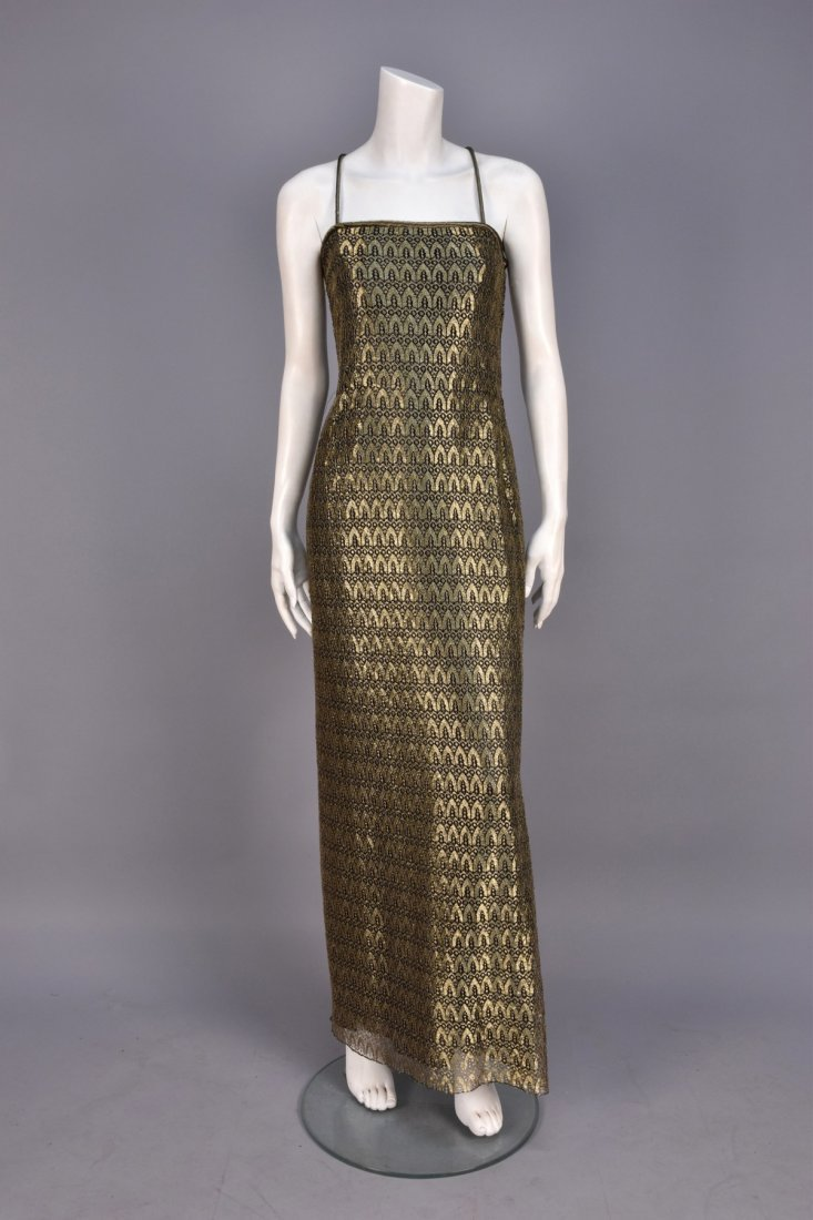 MARY McFADDEN METALLIC LACE EVENING GOWN.