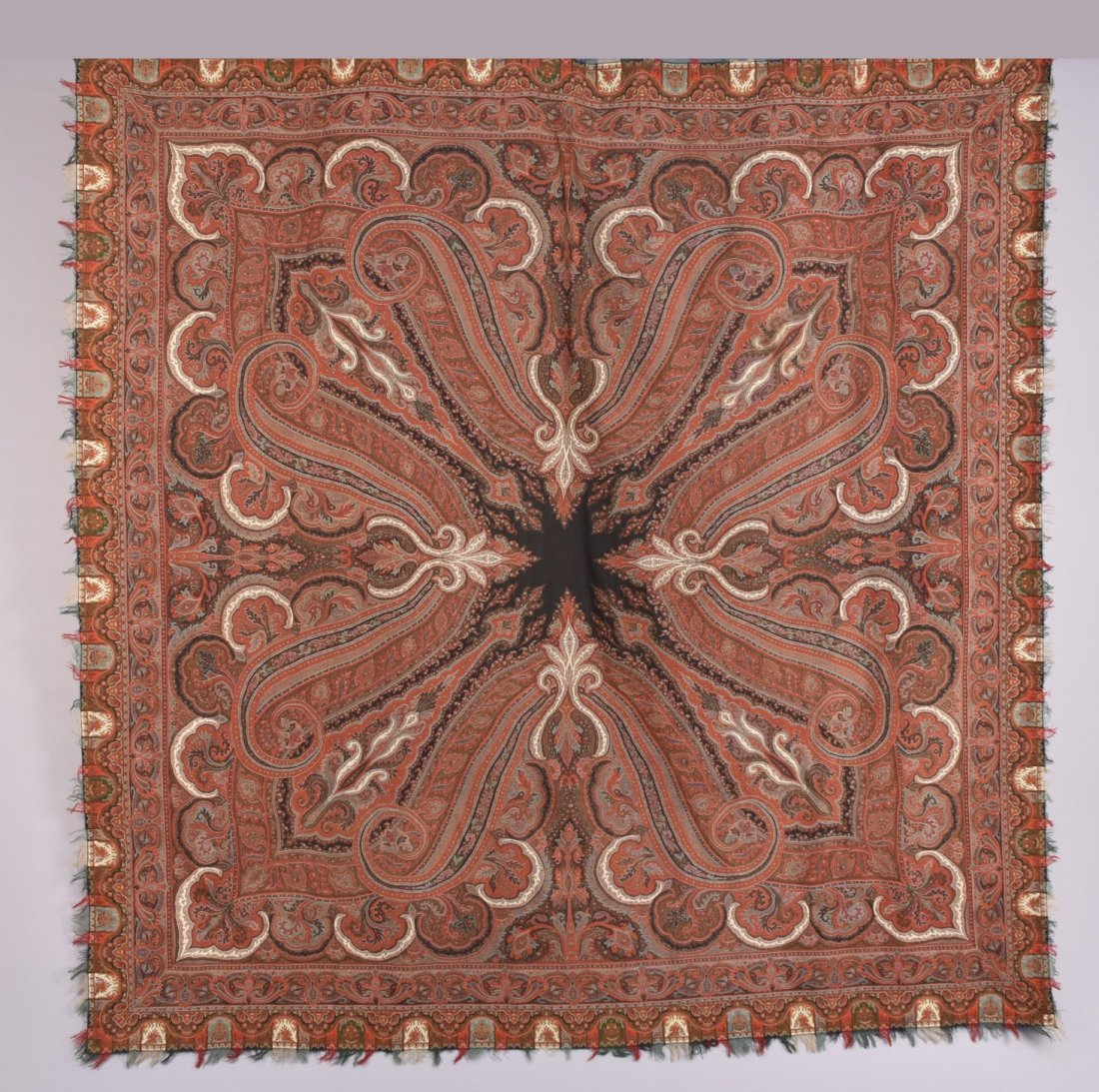 WOOL PAISLEY SHAWL, 19th - EARLY 20th C.