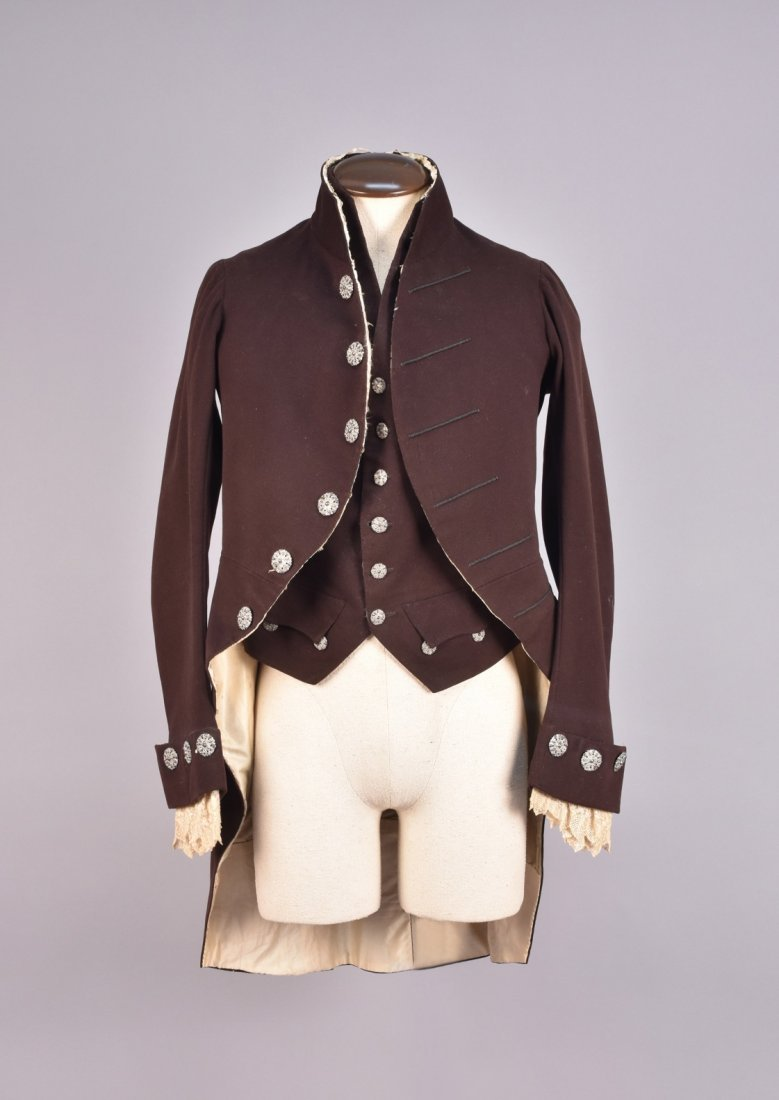 GENTS WOOL COURT COAT and WAISTCOAT, 19th C.