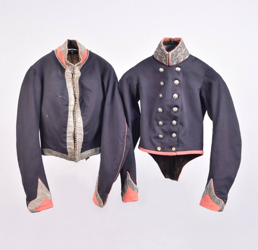 TWO BRITISH HUSSAR STYLE UNIFORM JACKETS, 19th C.