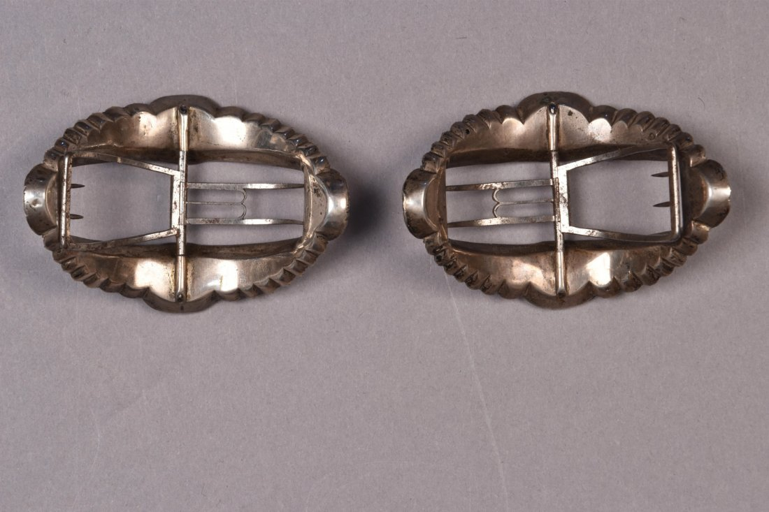 ENGLISH SILVER SHOE BUCKLES with PASTE and ROSE GOLD - 2