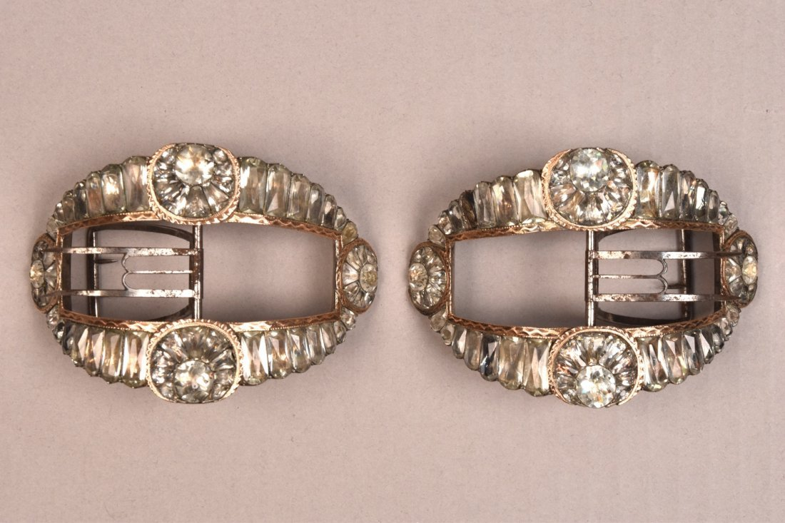 ENGLISH SILVER SHOE BUCKLES with PASTE and ROSE GOLD - 4
