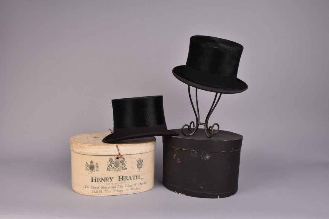 TWO LONDON LABEL BEAVER TOP HATS with BOXES, 19th C.