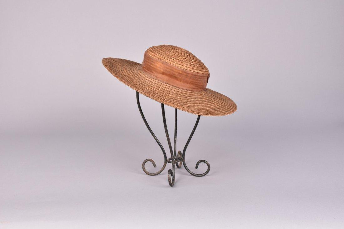 BRAIDED STRAW WIDE-BRIM HAT, 19th C.