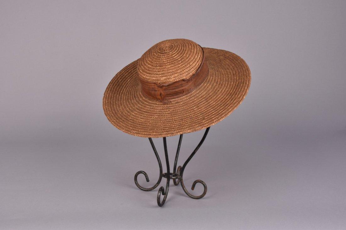 BRAIDED STRAW WIDE-BRIM HAT, 19th C. - 2