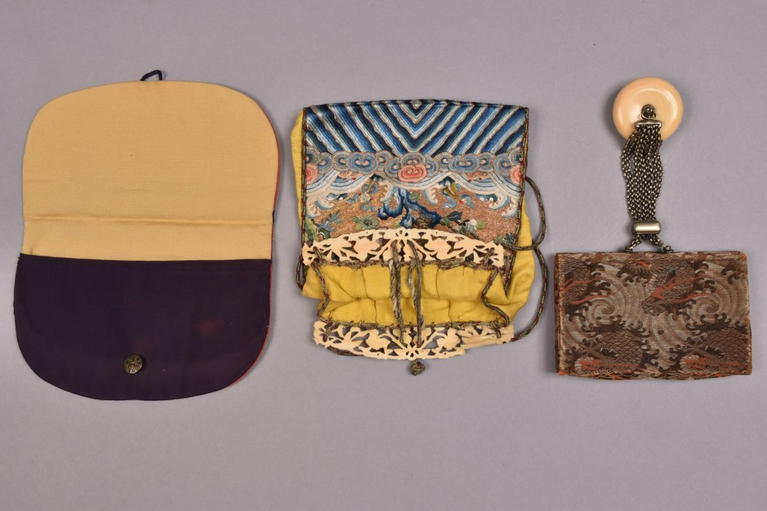 TWO CHINESE POLYCHROME SILK PURSES, LATE 19th - 20th C.