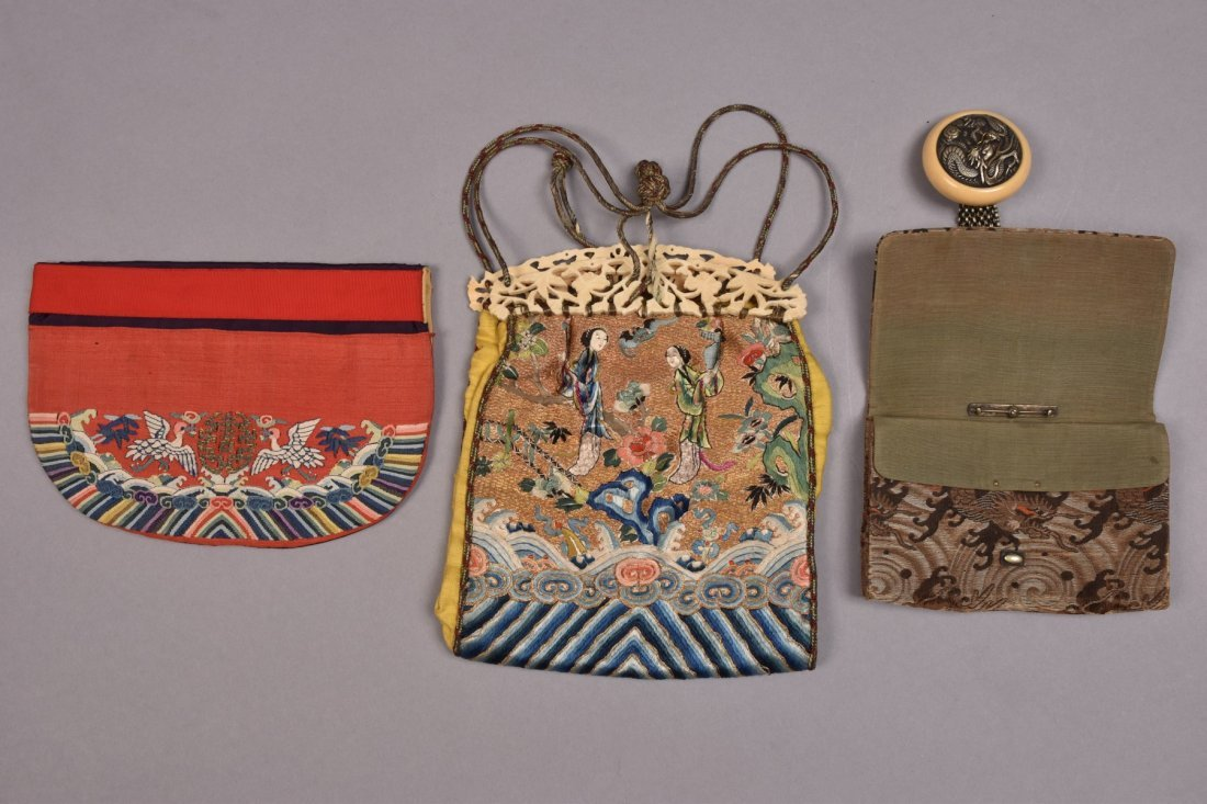 TWO CHINESE POLYCHROME SILK PURSES, LATE 19th - 20th C. - 2