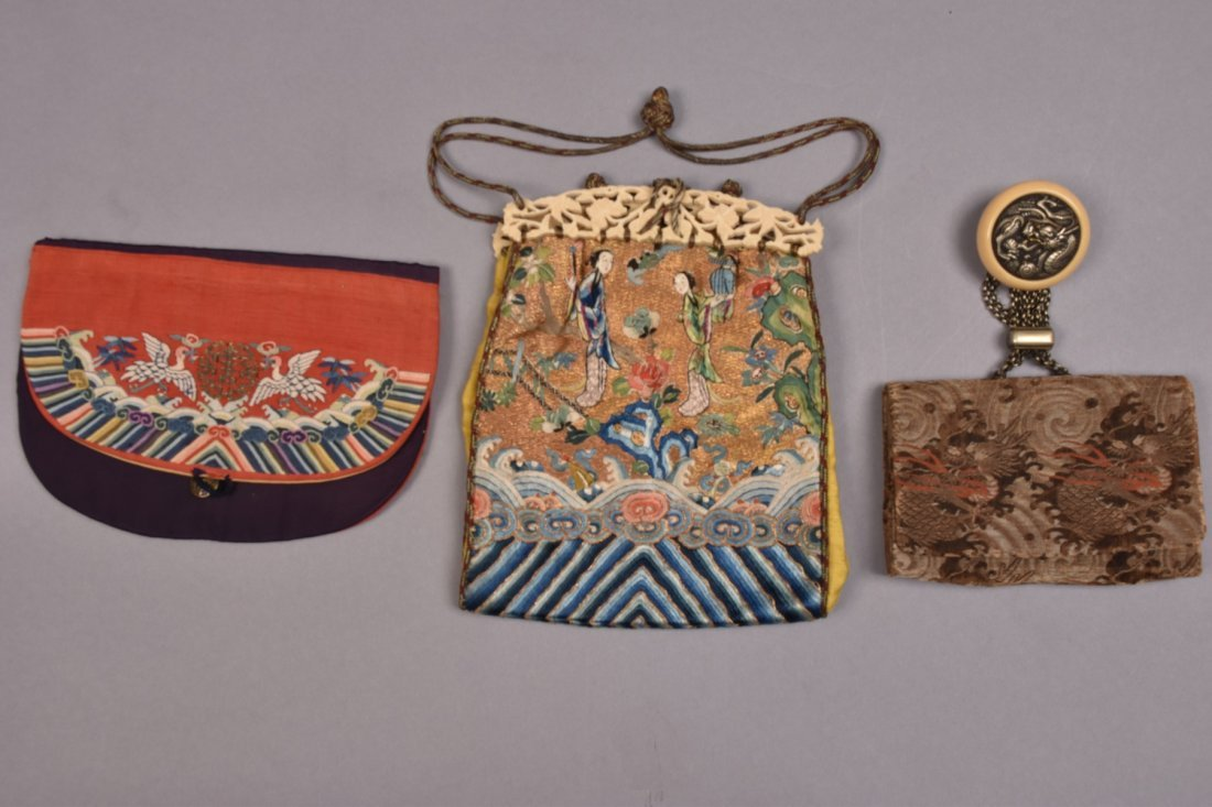 TWO CHINESE POLYCHROME SILK PURSES, LATE 19th - 20th C. - 3