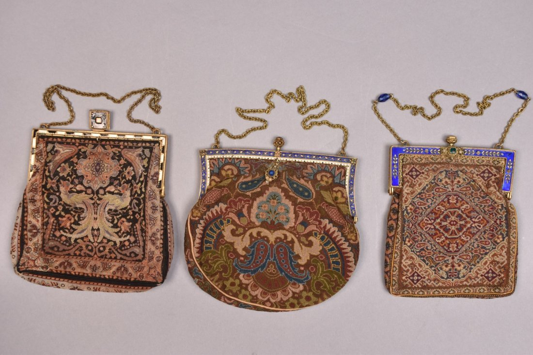 THREE PETIT POINT BAGS with ENAMELED FRAME, EARLY 20th