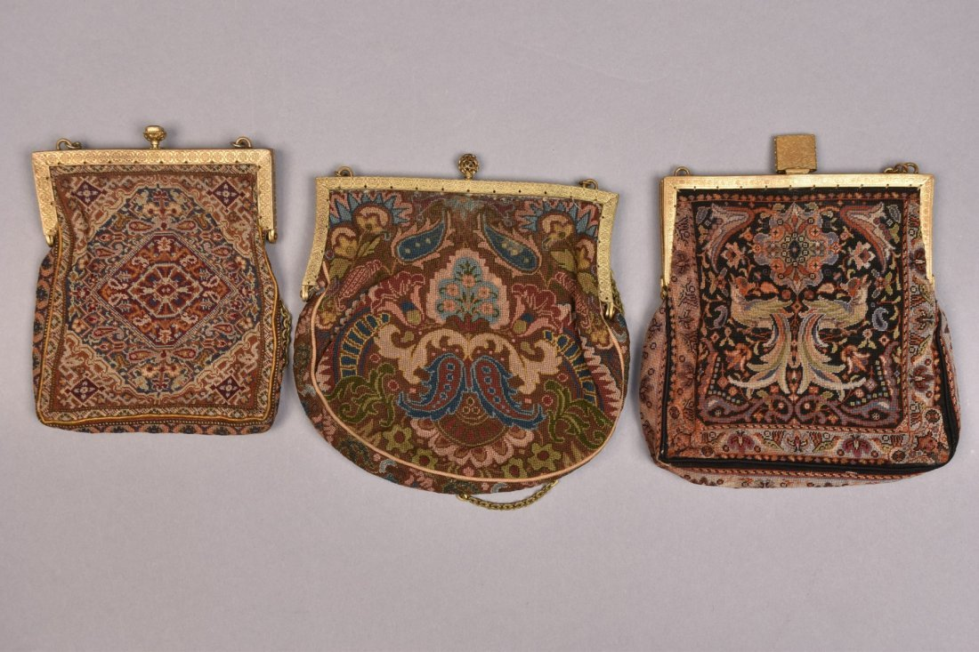 THREE PETIT POINT BAGS with ENAMELED FRAME, EARLY 20th - 4