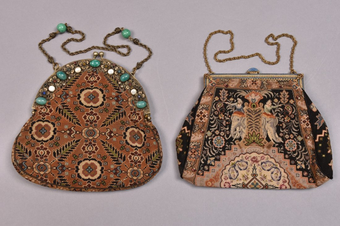 TWO UNUSUAL FINE PETIT POINT BAGS, EARLY 20th C.