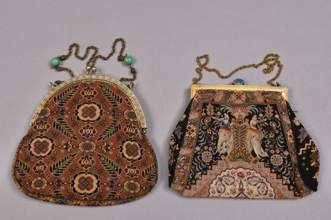 TWO UNUSUAL FINE PETIT POINT BAGS, EARLY 20th C. - 3