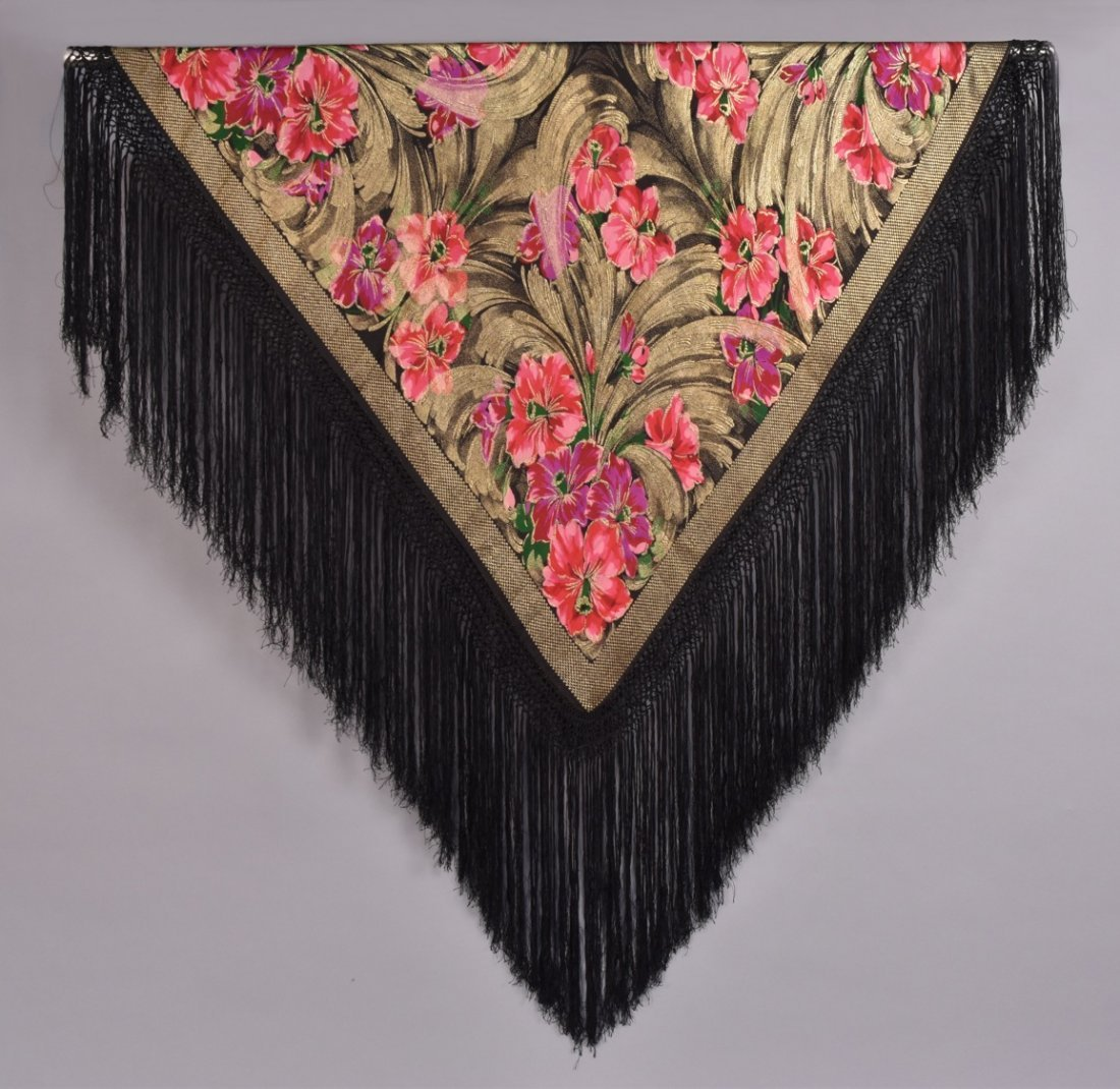 PRINTED FLORAL LAME SHAWL, 1920s
