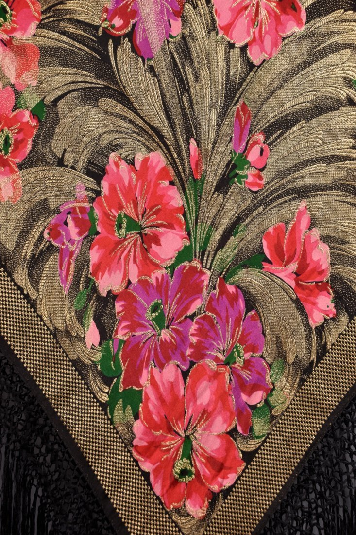 PRINTED FLORAL LAME SHAWL, 1920s - 2