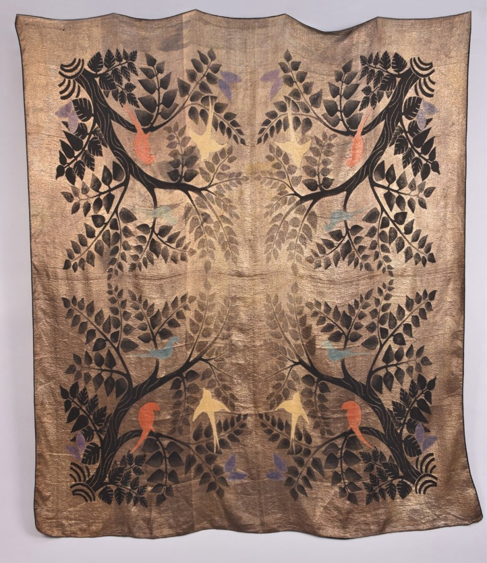 ART DECO GOLD LAME SHAWL with BIRDS.