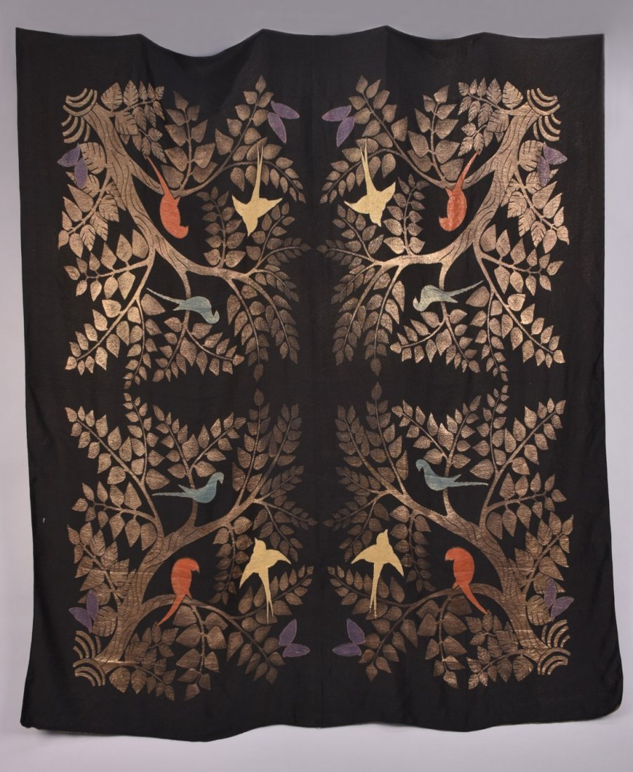 ART DECO GOLD LAME SHAWL with BIRDS. - 3