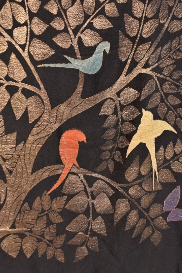 ART DECO GOLD LAME SHAWL with BIRDS. - 5