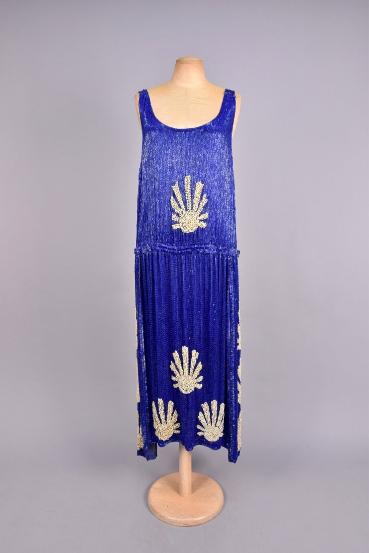 LARGE SIZE COBALT and PEARL BEADED DRESS, 1920s