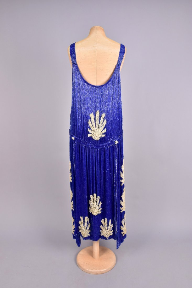 LARGE SIZE COBALT and PEARL BEADED DRESS, 1920s - 2