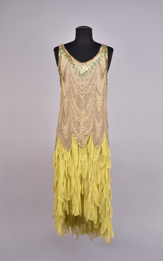 METALLIC LACE and CHIFFON DRESS with SEQUINS , 1920s