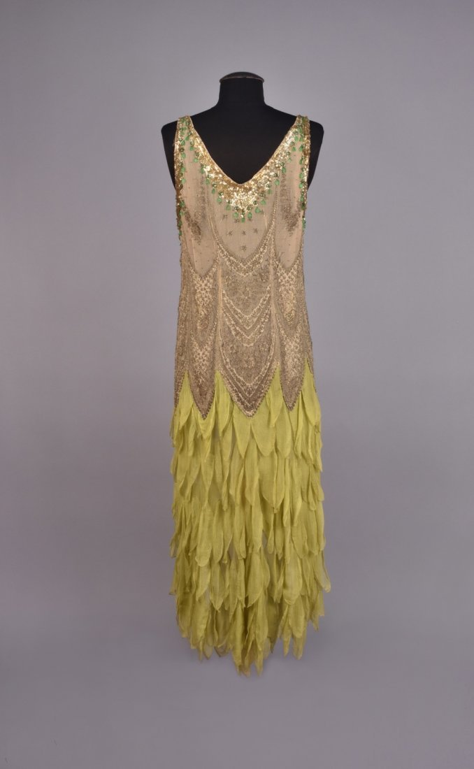 METALLIC LACE and CHIFFON DRESS with SEQUINS , 1920s - 2