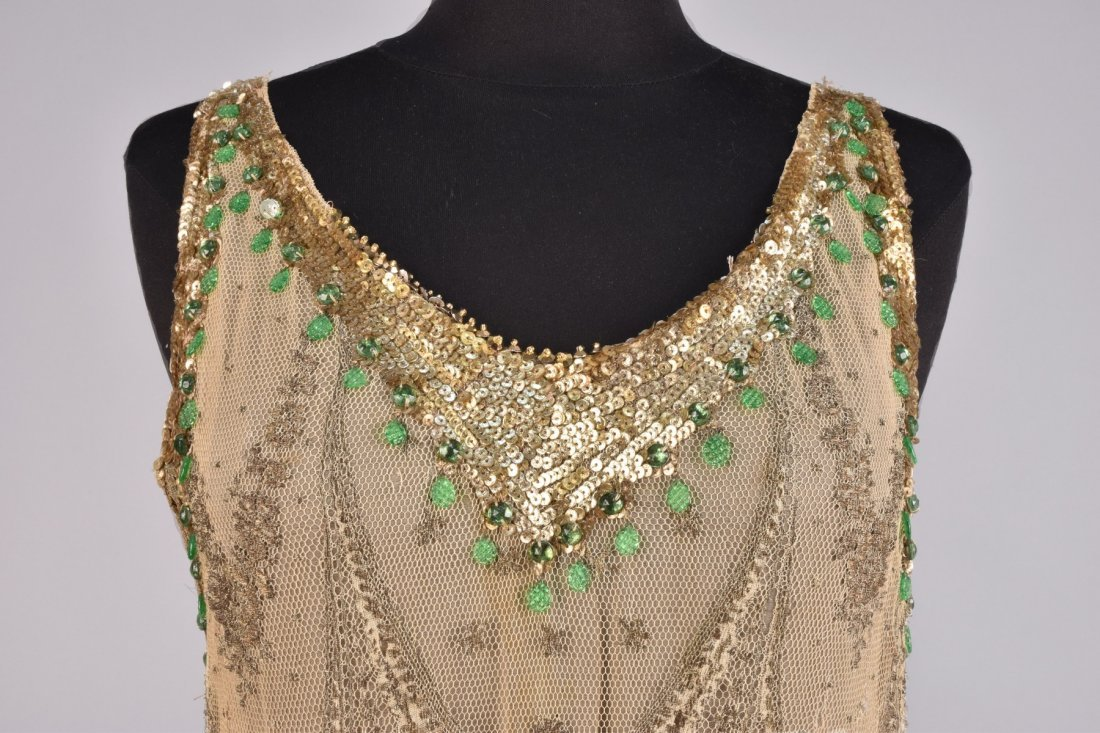 METALLIC LACE and CHIFFON DRESS with SEQUINS , 1920s - 3