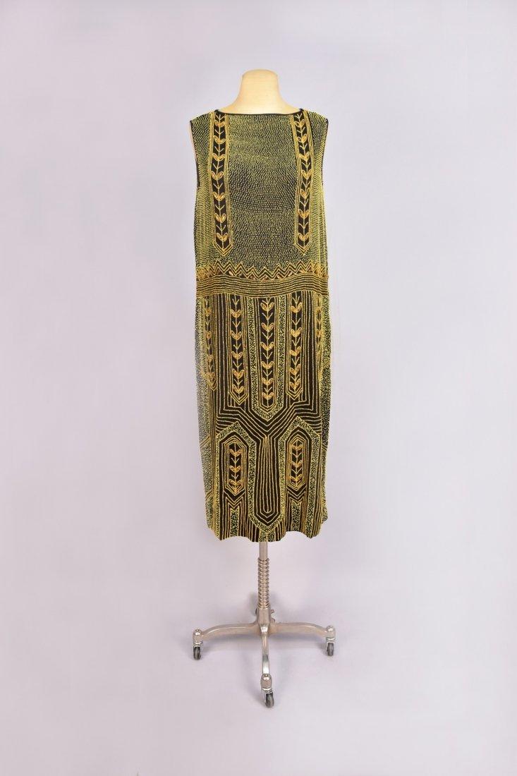 BEADED CREPE DINNER DRESS, 1920s
