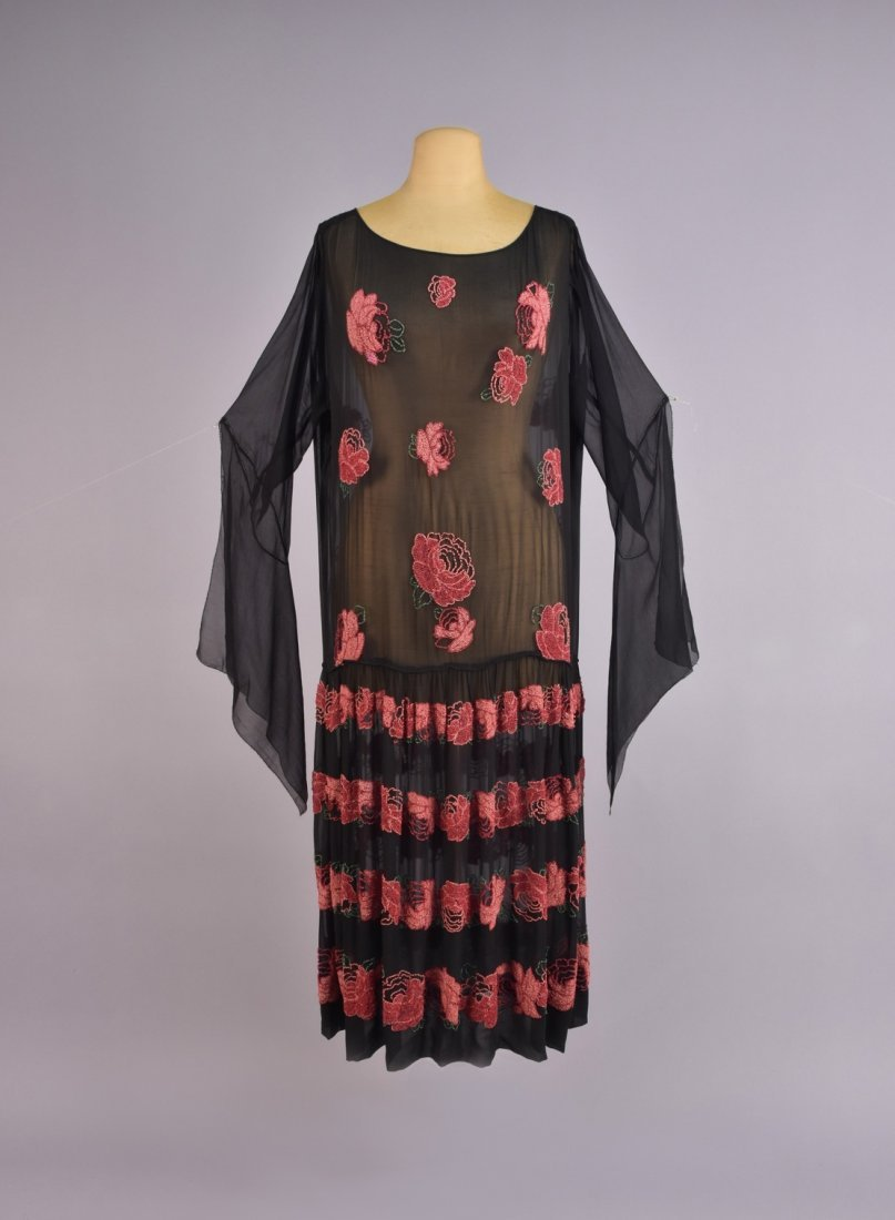 BEADED CHIFFON DRESS with BANDS of ROSES, 1920s