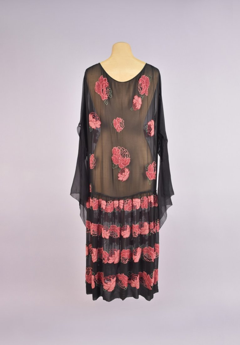 BEADED CHIFFON DRESS with BANDS of ROSES, 1920s - 2