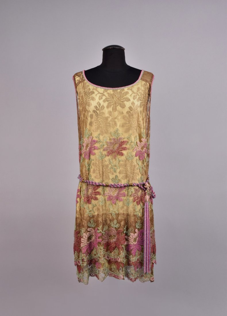 FRENCH BEADED METALLIC LACE DRESS, 1920s