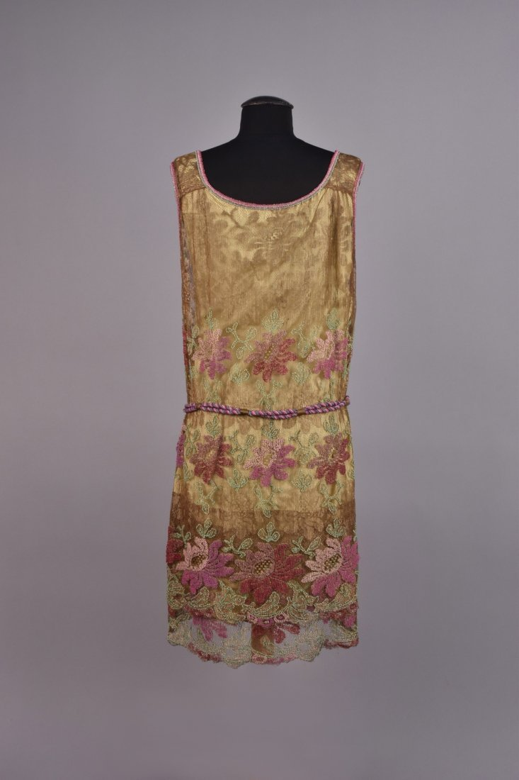 FRENCH BEADED METALLIC LACE DRESS, 1920s - 2
