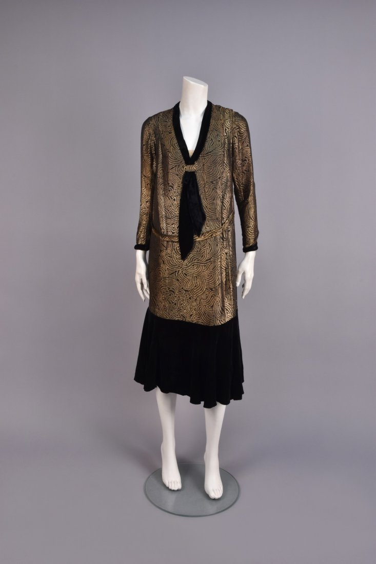 VELVET and GOLD LAME DINNER DRESS, 1920s.