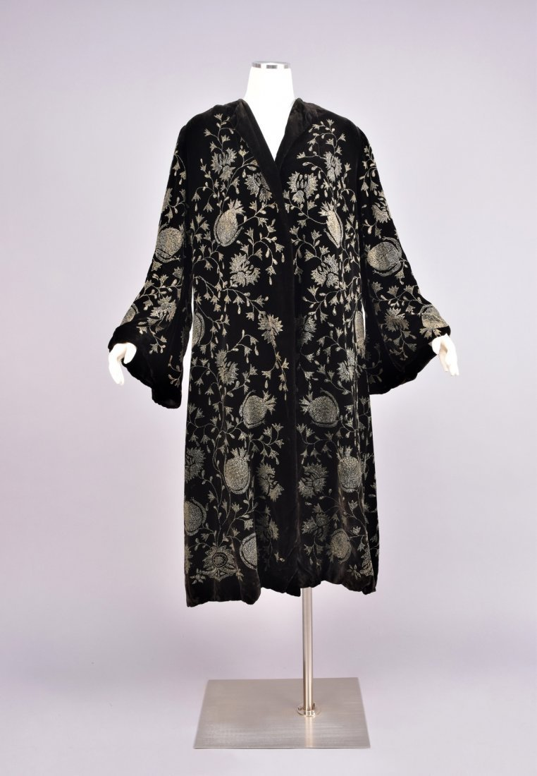VELVET COAT with METALLIC PAINT DECORATION, 1920s