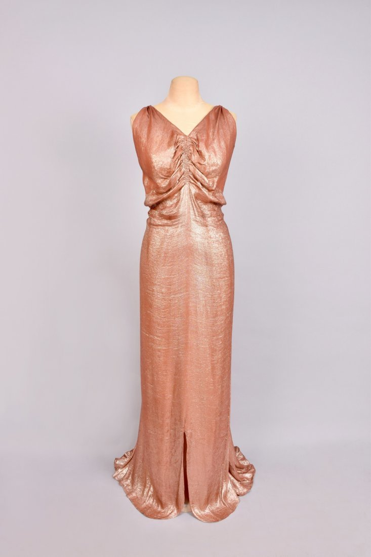 TRAINED HONEYCOMB-BACK LAME EVENING GOWN, 1930s