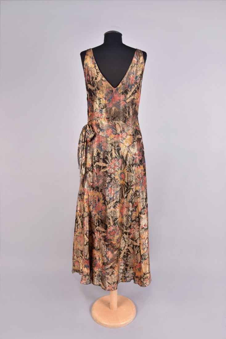 PRINTED and METALLIC BROCADE GOWN, 1930s. - 2