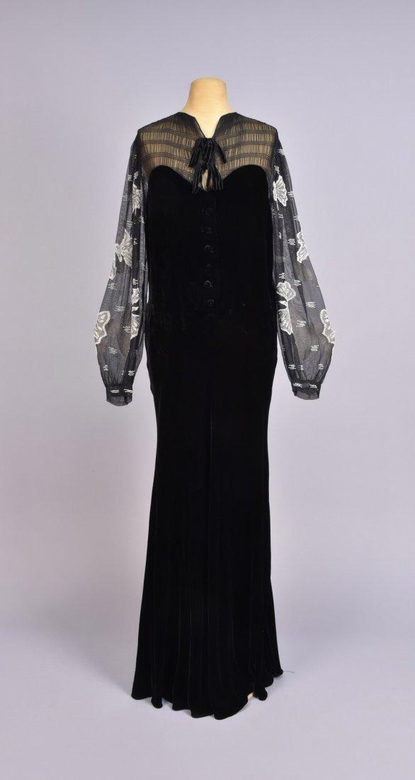 VELVET DRESS with BEADED SLEEVE, 1930s