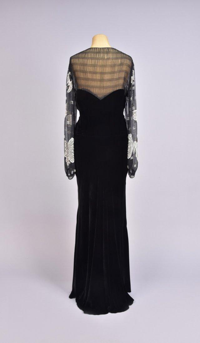 VELVET DRESS with BEADED SLEEVE, 1930s - 2
