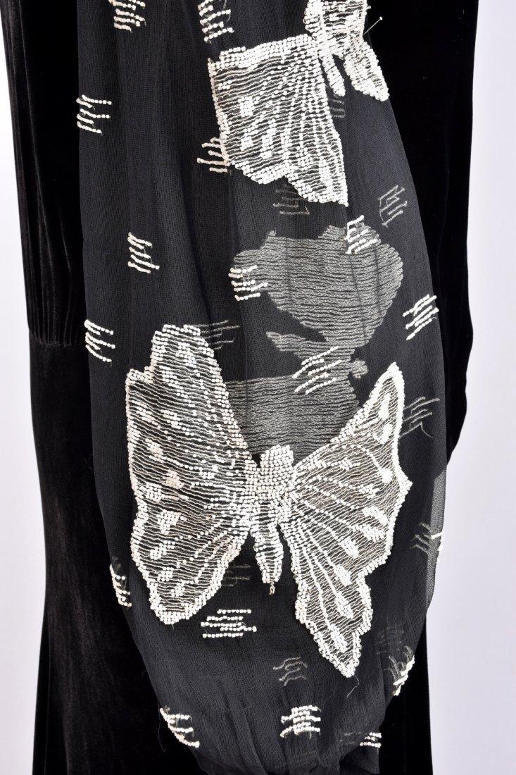 VELVET DRESS with BEADED SLEEVE, 1930s - 3