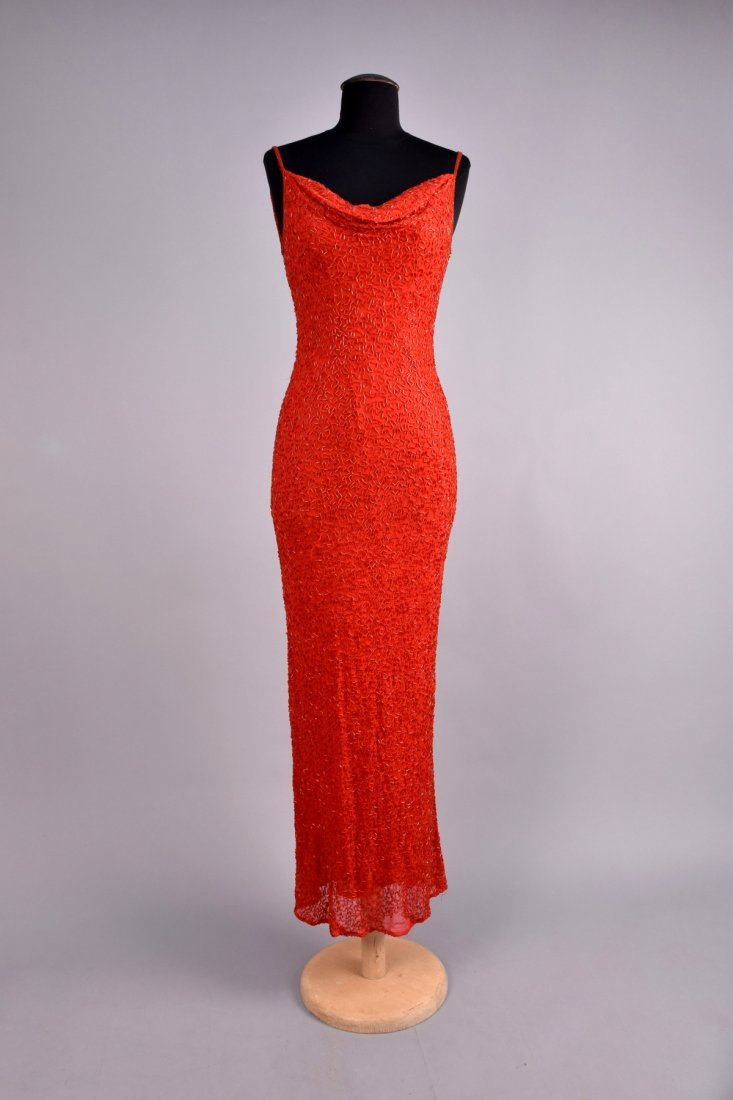 BEADED CHIFFON EVENING GOWN, 1930s