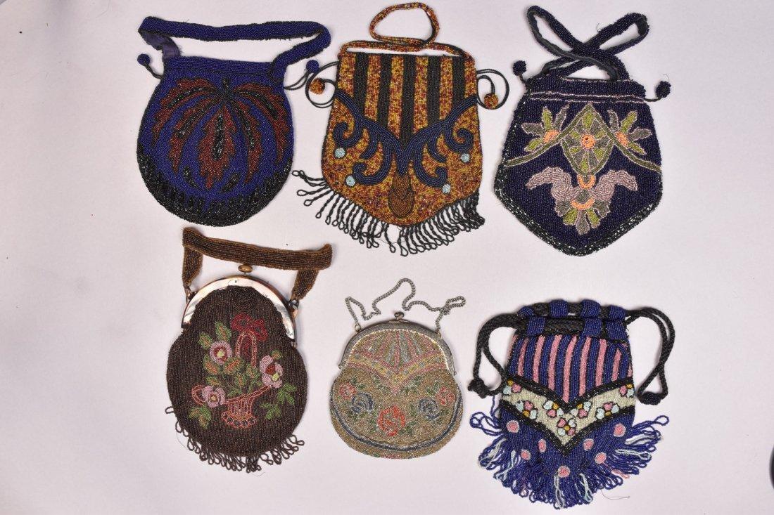 SIX ART DECO BEADED BAGS, EARLY 20th C.