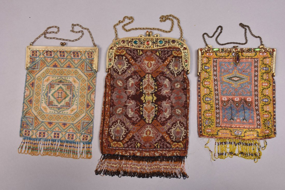 THREE MICRO BEADED BAGS, EARLY 20th C.