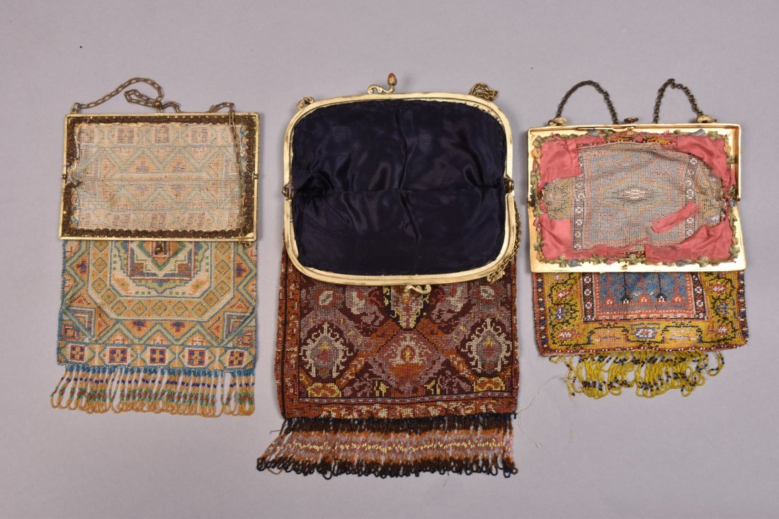THREE MICRO BEADED BAGS, EARLY 20th C. - 2