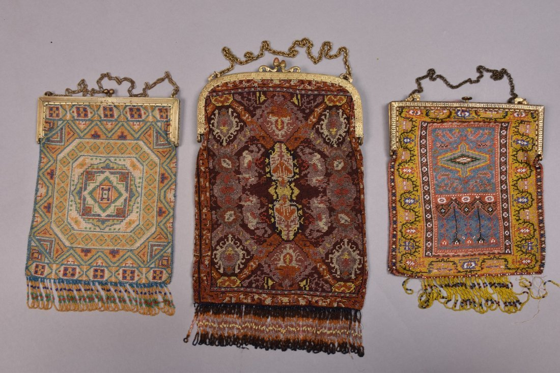 THREE MICRO BEADED BAGS, EARLY 20th C. - 3