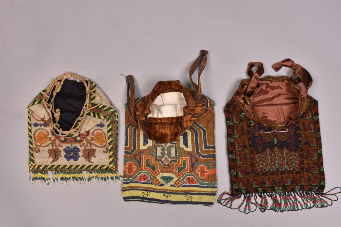 THREE LARGE CARPET DESIGN MICRO-BEADED BAGS, EARLY 20th - 2
