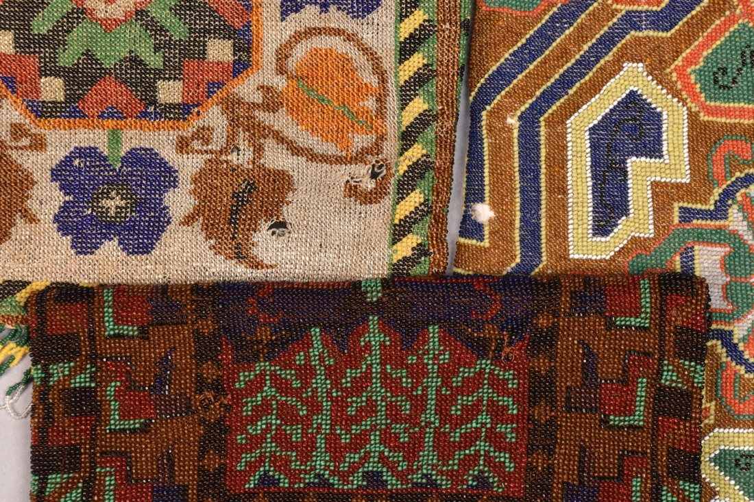 THREE LARGE CARPET DESIGN MICRO-BEADED BAGS, EARLY 20th - 3